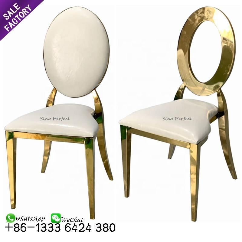 Luxury modern gold stainless steel round back dining banquet chair for wedding