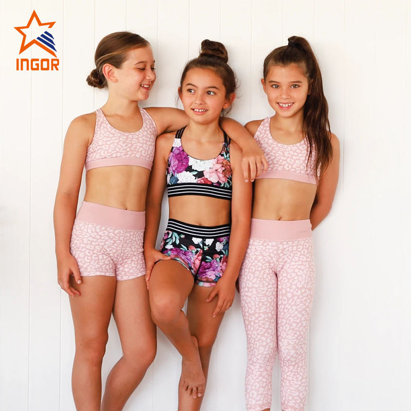 kids yoga wear 2021 two pieces high quality sports bra and leggings set wholesale kids workout clothes