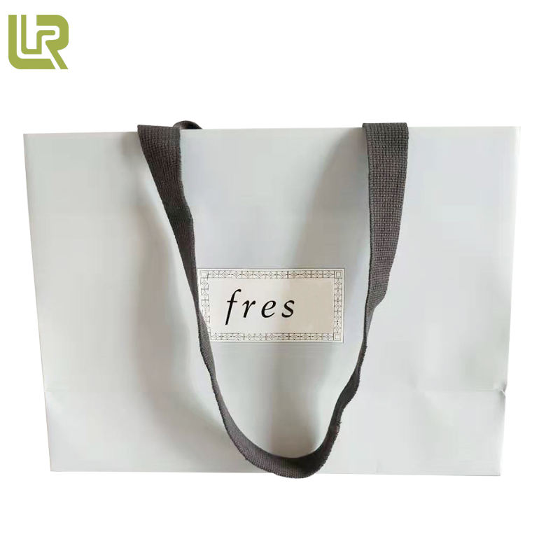 Direct Buy From China Embossed Light Blue Shopping Paper Bag With Handles