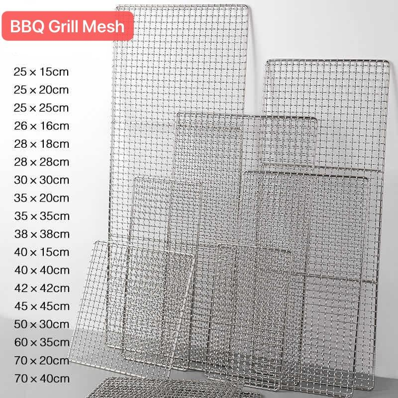 outdoors stainless steel portable charcoal cooking BBQ grill grate wire mesh