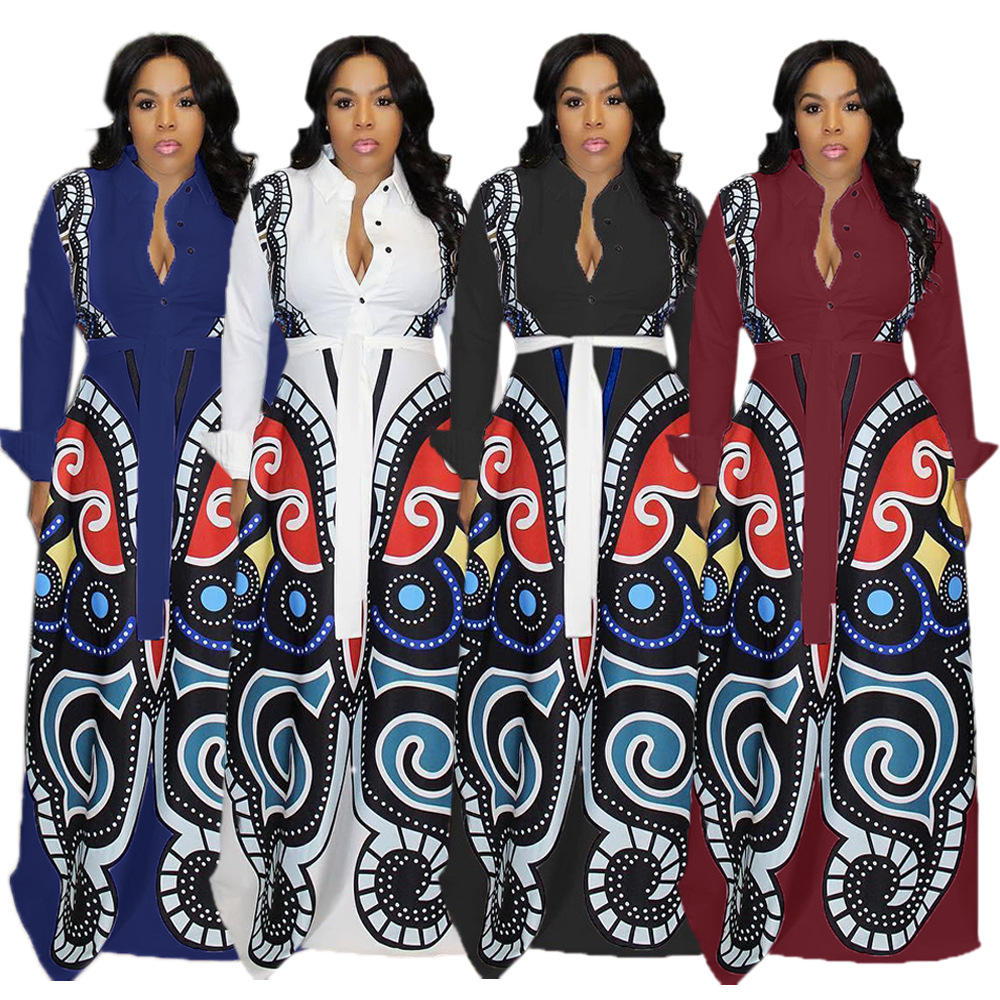 Women's Clothing Casual Printed Maxi Dress Long Sleeve Winter Belted Custom Clothes For Women Lady RS00058