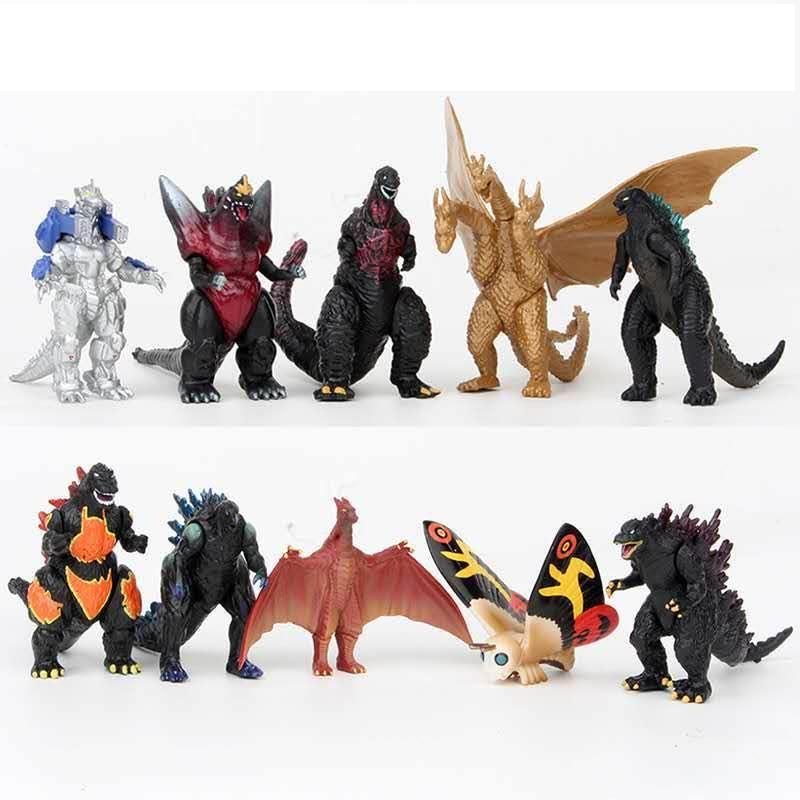 Set of 10 Godzilla Toys,Movable Joint Action Figures,King of the Monsters Mini Dinosaur Play set Kids Birthday Cake Toppers