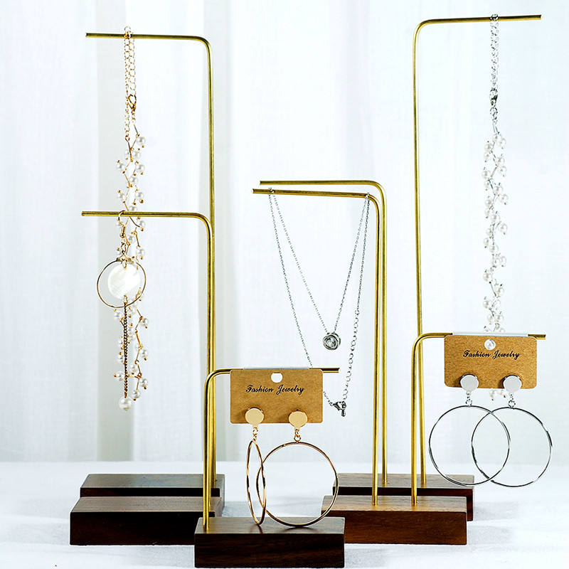 Free Sample Wood Luxury Brass Jewelry Display Stand Pendant Earrings Necklace Holder