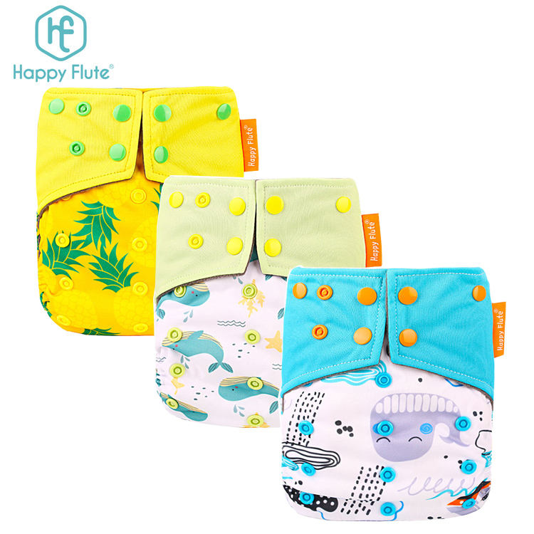 Happyflute 1pcs bamboo charcoal pocket diaper breathable printed cloth diaper nappy pants suits for 3-15kg babies