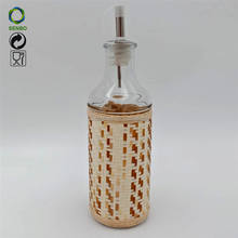 Wholesale Houseware Glass Oil Vinegar Cruet  With Nozzle Clear Round Glass Canister With Fabric Cover