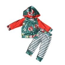 Fall/winter baby girls children clothes orange floral patchwork hoodie  top cotton stripped pants lace long sleeve outfits