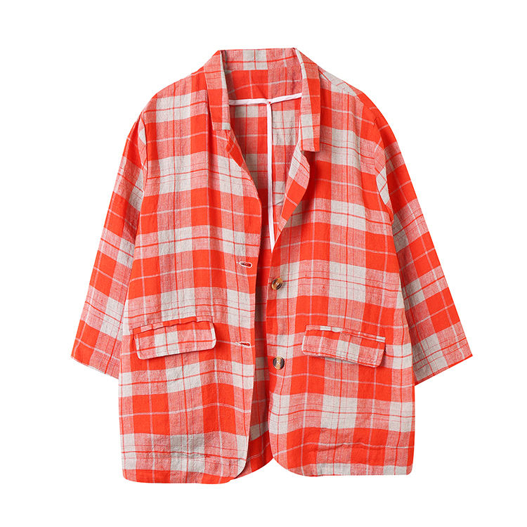 Wholesaler Fashion Style Design Three Quarter Sleeve Pocket Red Plaid Outfit Button Shirt