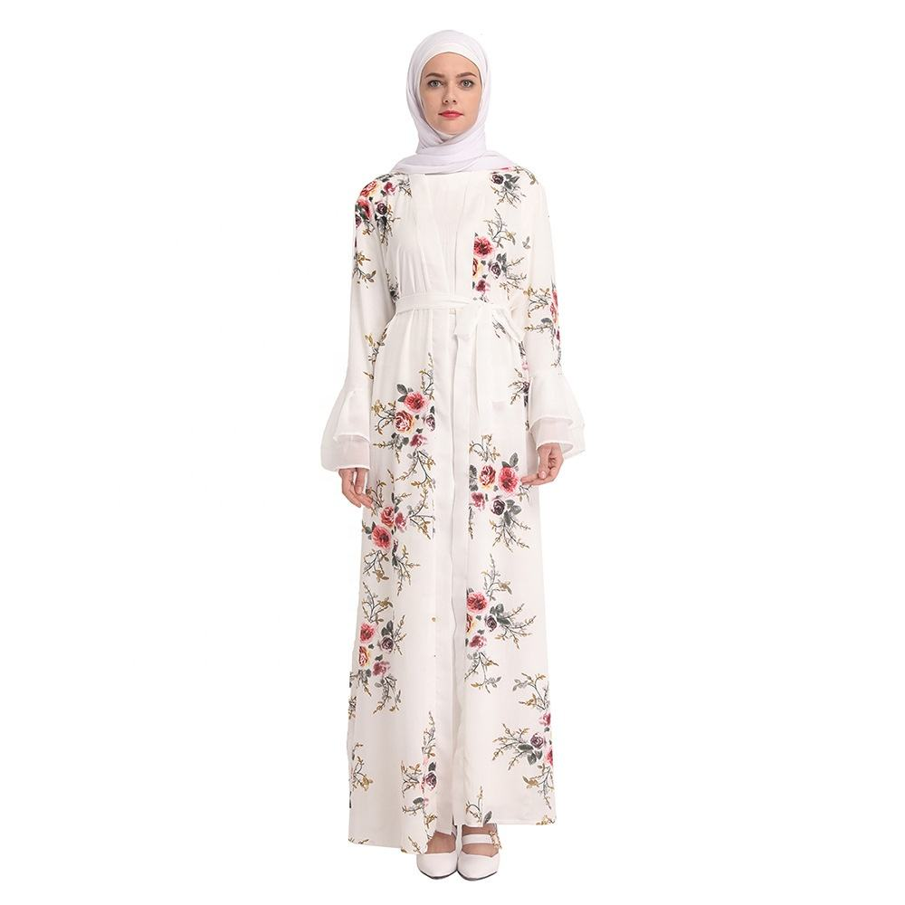 Print Flower Fabric Colorful Malaysia Singapore Summer Women Open Abaya Online Shopping For Islamic Clothing