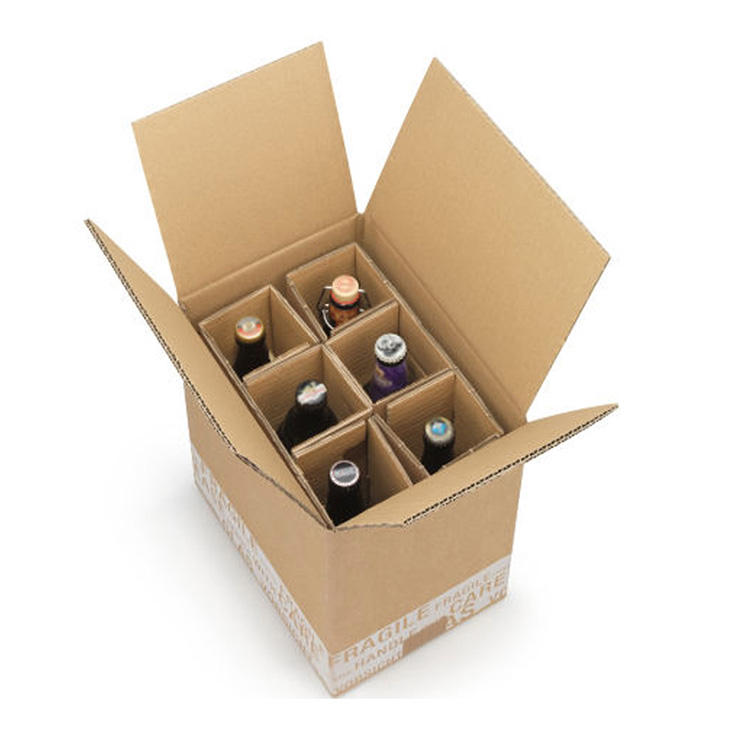 Wholesale 6 Bottles Red Wine Packaging Carton Box Custom Printed Shipping Whiskey Beer Corrugated Carton