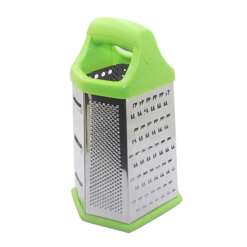 High quality kitchen stainless steel multifunction tabletop hand cutter fruit vegetable cheese 6 sides manual box grater