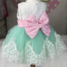 Baby dress Korean princess skirt pink lace year-old hundred-day photography clothing infants
