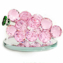 High Quality Crystal Grape Cluster Home DecoratIon  Glass Grape  with Base Stand for Wedding Love Gifts