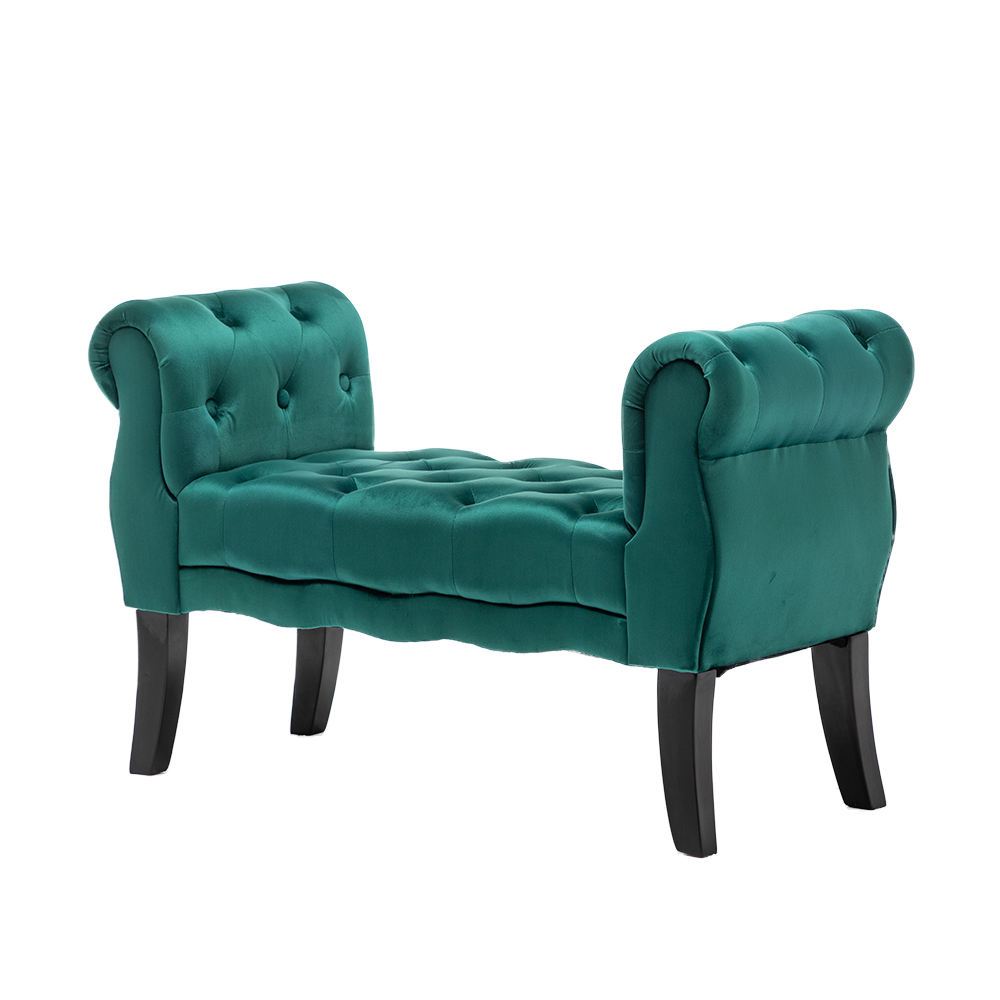 Crushed Velvet Navy Green Chaise Longue Ottoman Bed End Stool Window Bedside Bench