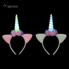 Wholesale Unicorn Party Supplies Girls Hair Accessories Light Up Led Unicorn Headband