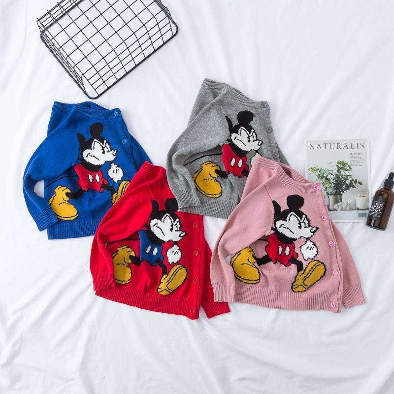 Whole Sale Mickey Cartoon Mouse Sweater Kids Embroidery Boys and Girls Cotton Sweaters