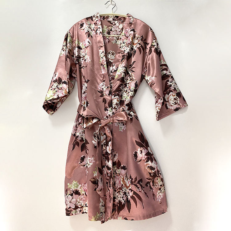 Wholesales floral silk wedding robe Women's Satin Kimono Robes