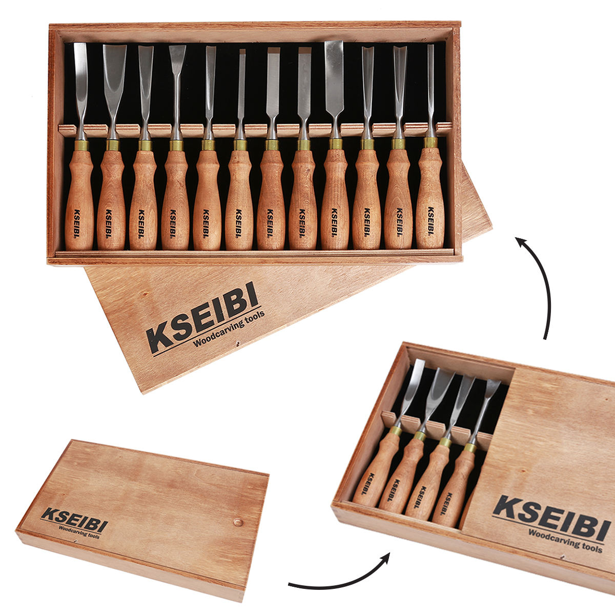 KSEIBI 312141 Wood Carving Tools Woodworking Kits Chisel Gouge 12 Pieces Premium Ash Wood Handle In Wooden Box