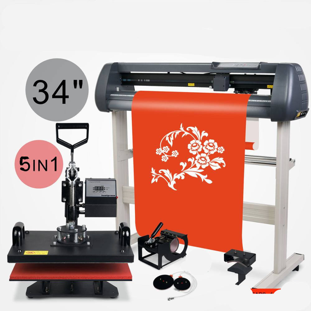 "SIHAO 5in1 Digital Heat Press Transfer Sublimation Machine and 34"" Vinyl Cutter Signmaster Cutting Plotter"