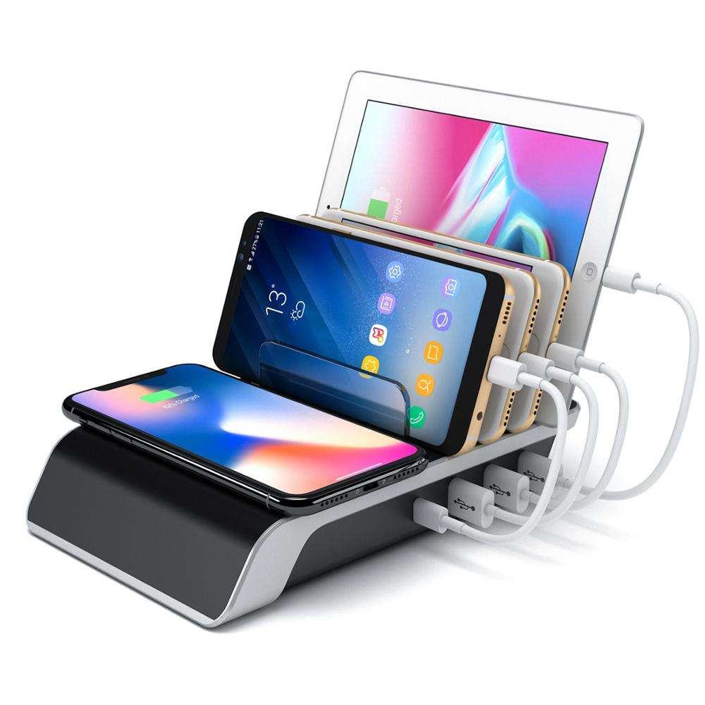 US Patent YM-UD09 9A 45W Wireless Charging Station organizer for mobiles tablet pc charger adapter Wireless Charging Pad