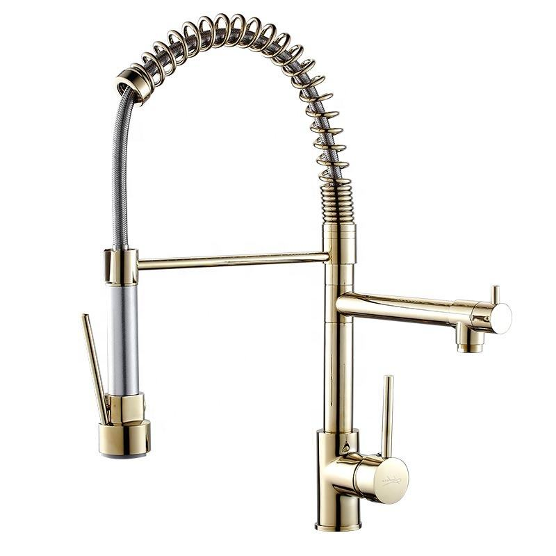 Torneira cozinha deck mounted single hole 3 way kitchen faucet polished brass gold upc pull down kitchen faucet with sprayer