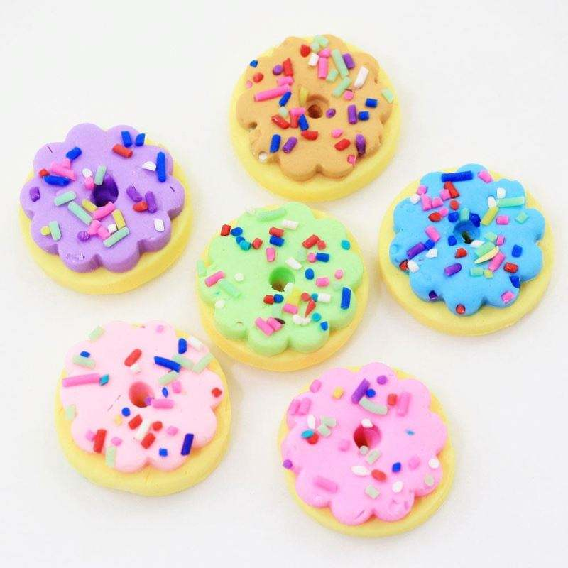 Colorful Beautiful Cute Design 22mm Round Donut Foods Beads Style Double Layers Flat Back Soft Polymer Clay Stickers for DIY Ma
