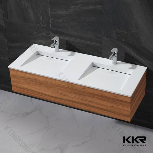Artificial Marble Solid Surface Double Sink Bathroom Vanity