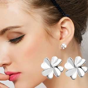 Noble Lucky Clover Heart Shape Petal Stud Summer Style Silver Earrings Earring