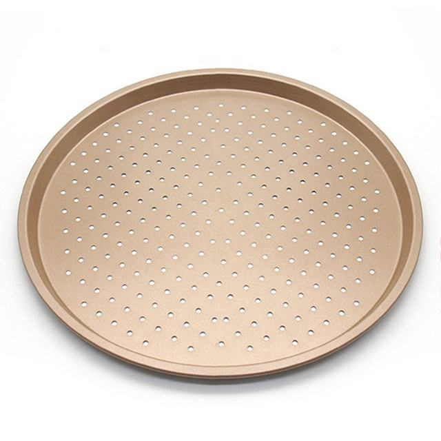 Pizza Pans With Holes 12 inch - Carbon Steel Non Stick Coating Perforated Round Tray Baking For Kitchen Home Bakerly