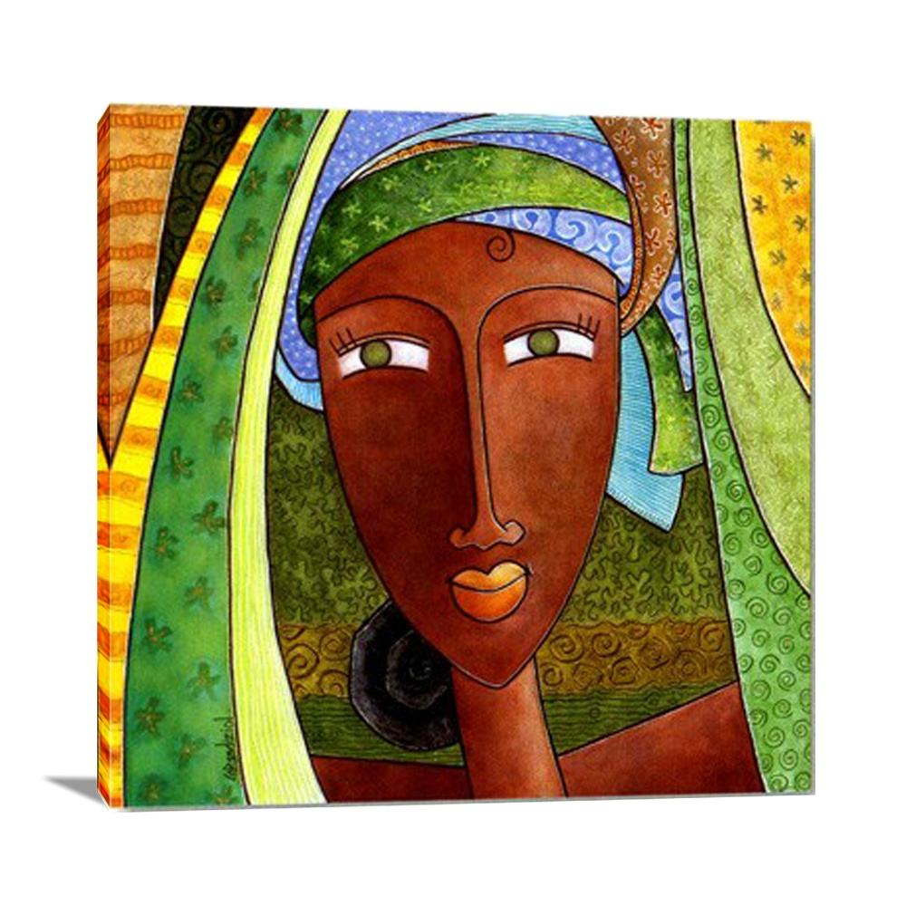Wholesale Stretched Abstract African Woman Figure Printed Painting