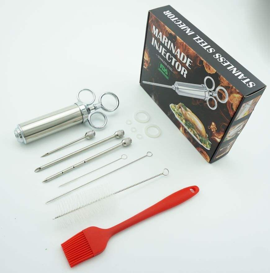 Stainless Steel Manual Brine Meat Injector 2oz Kit Injection Syringe with brush