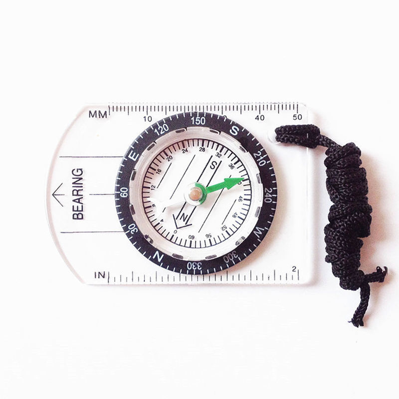 Camping Pointing Guide Metal Pointer Acrylic Small Magnetic Compass with Map Scale Ruler
