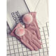 Winter Fashion Touch Screen Woman Rex Rabbit Furry PU Woman-made Leather Bow Gloves