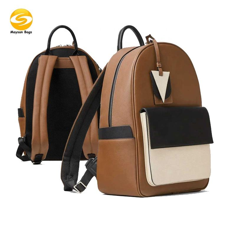 Faux leather business backpack,anti-theft college daily backpack for men,low MOQ customize make pu leather laptop backpack