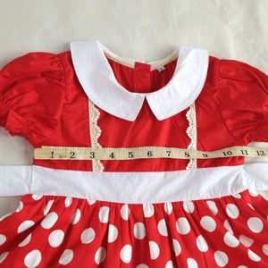Little Girls Puff Sleeve Red Birthday Dress Collar Polka Dot Girls Baby Dress