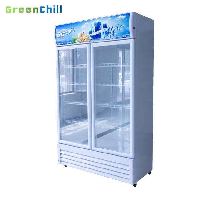 Supermarket upright display pepsi cooler with double doors
