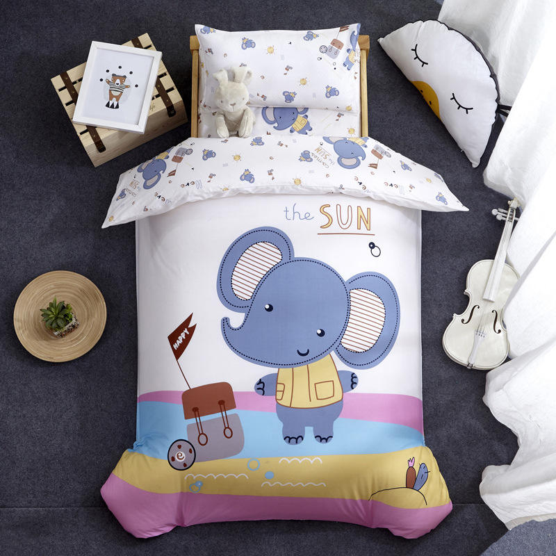 Nursery School 100% Cotton Cute Bedding Set Baby Bedsheet, 3 Piece Suit Cartoon Bedding Sets For Winter/