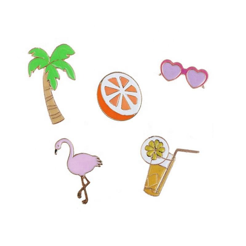 GRAPHICS /& MORE Flamingo Palm Trees Tropical Vacation Round Tie Bar Clip Clasp Tack Gold Color Plated