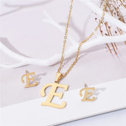 Bohemian geometric letter clavicle chain necklace new women's online red earrings set jewelry