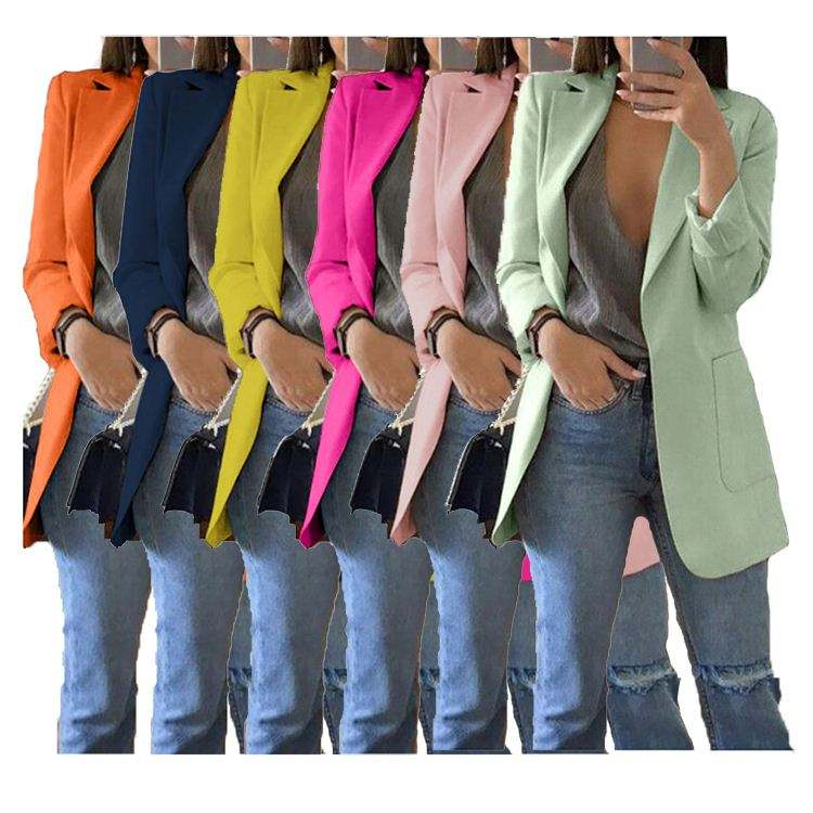 11505NA hot sale solid colors turn-down collar elegant slim latest design 2020 women fashion clothing Blazer