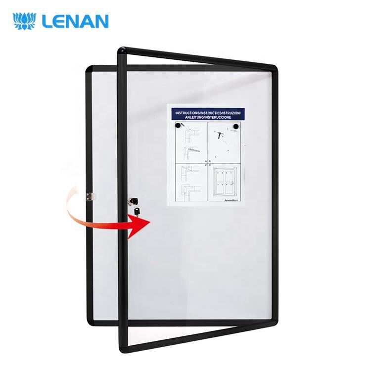 Home school office enclosed lockable notice board message board magnetic bulletin board with black frame