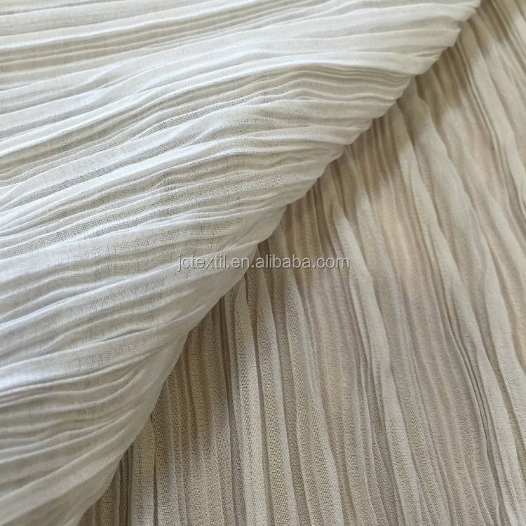M12653 JC shaoxing wholesale 50D chiffon with foil pleated chiffon fabric price per meter