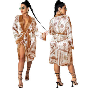 Factory designer robe sexy money printed robes satin bath robe for women