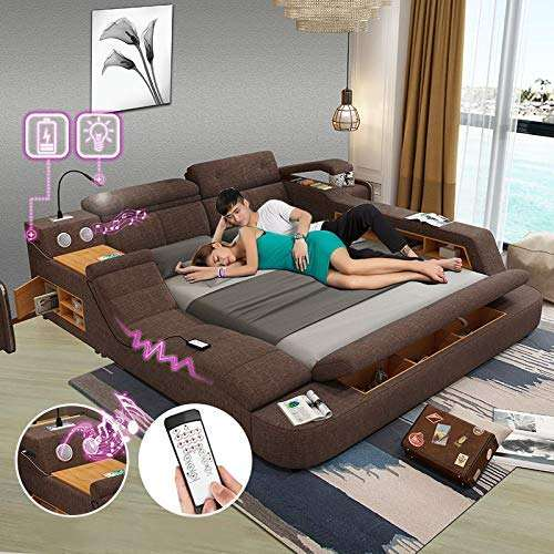 Modern Soft Bed Tatami Bedroom King Queen Double Size Multi-Functional Soft Music Massage Bed Real Leather Art Bed