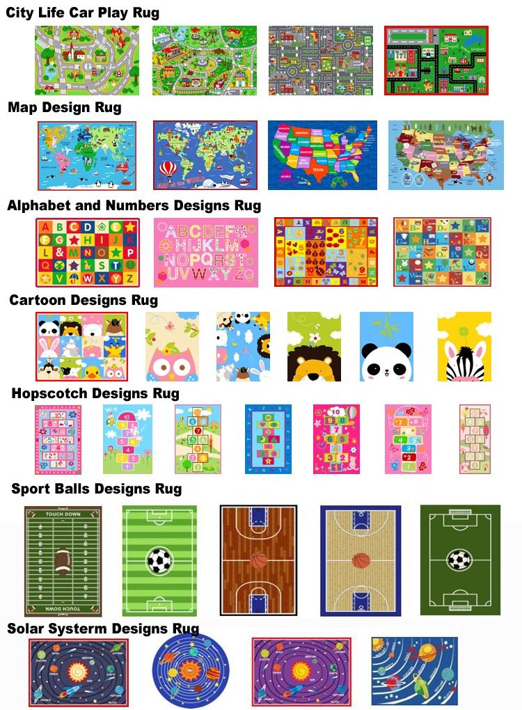 New Design Custom Printed Children Baby Play Floor Playing Mat Carpet Kids Rugs