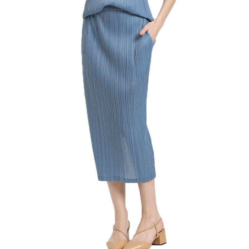 Trang phục Nhà Sản Xuất của Phụ Nữ Cao Eo Xếp Li Trung-chiều dài Váy Thẳng với Túi