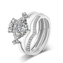 Custom women diamond wedding ring ,plated 925 sterling silver gold zircon rings