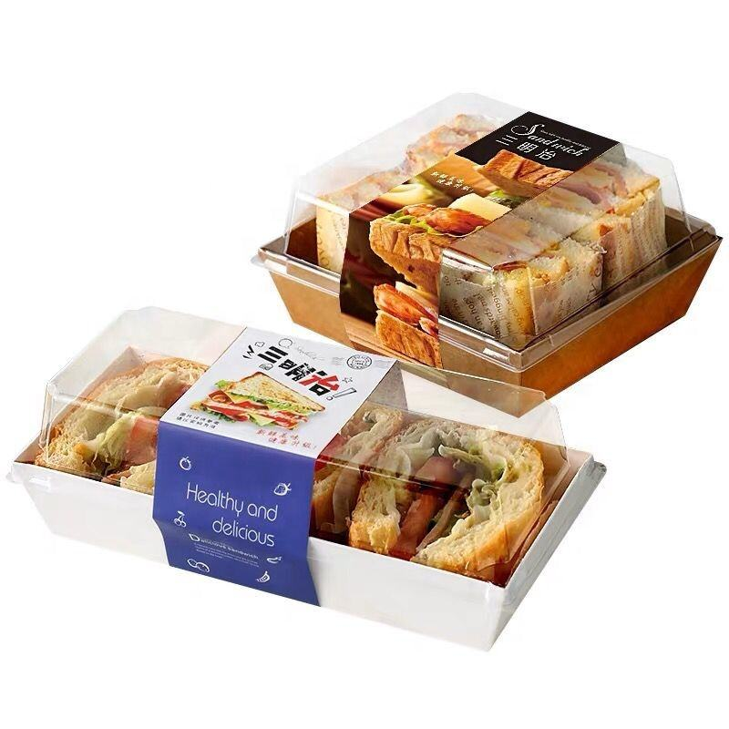 Food grade transparent window bakery container white square sandwich box rectangle swiss roll cake packaging