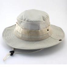 Summer Breathable Sunshade Adjustable String Wide Brim Outdoor Boonie Hat Camping Fishing Bucket Hat