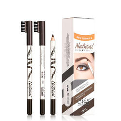 Wooden eyebrow pencil wth brush OEM/ODM popular style waterproof long-lasting slim high quality 2 in 1 for face makeup girls