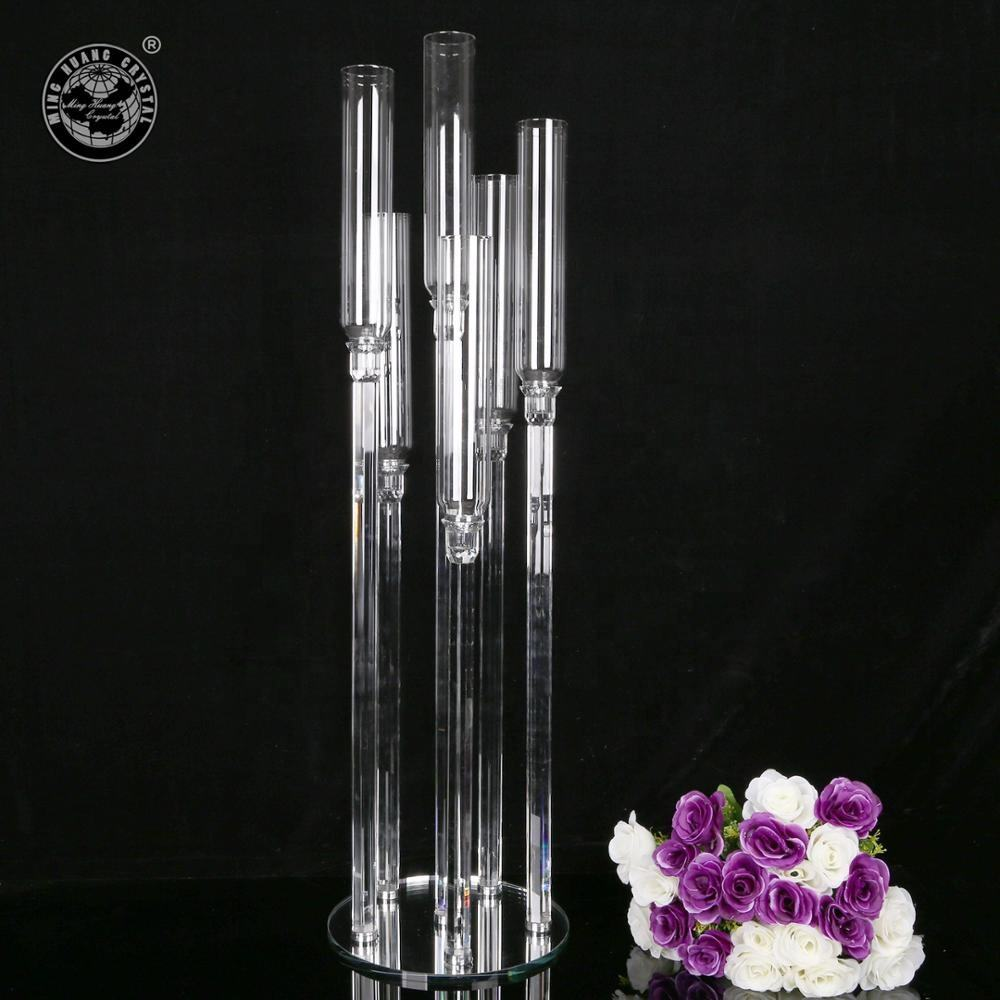 MH-ZT202 6 arms crystal candelabra wedding centerpieces with glass tube